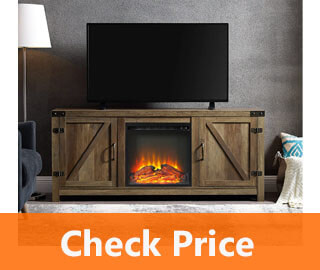 WE Furniture Farmhouse Barn Wood Fireplace Stand review